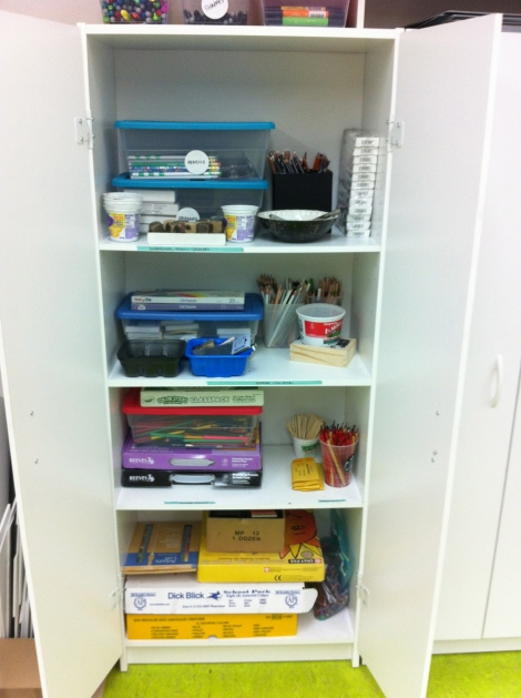 The 2D materials cabinet - pencils, colored pencils, chalk pastels, color sticks, markers, charcoal