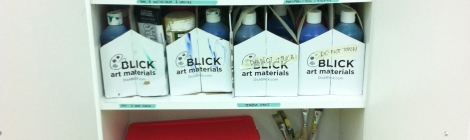 The Paint cabinet - ink, acrylic, gouche, watercolor, brushes, pens, and palettes,