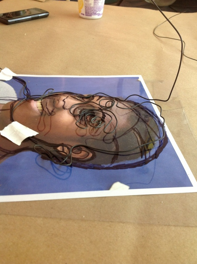 Wire self portrait artwitholiveri for Wire art projects