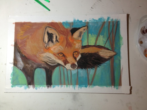 Fox painting for Alexis (sans spectacles)