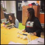 Madelon and Sofi working on their book sculptures
