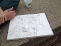 Courtyard Blind Contour Line Drawing